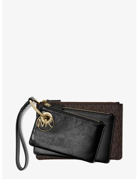 Leather And Logo Pouch Trio by Michael Michael Kors