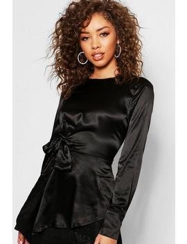 Satin Tie Waist Asymmetric Hem Blouse by Boohoo