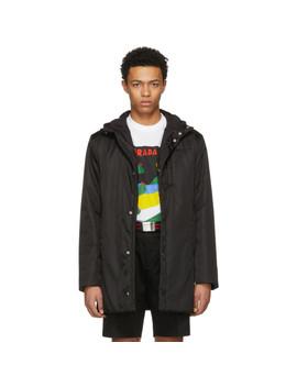 Black Hooded Side Zip Coat by Prada