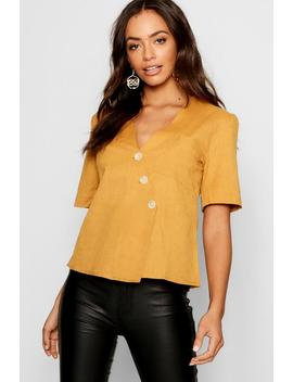Short Sleeve Button Up Blouse by Boohoo