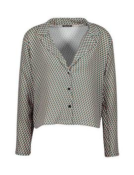 Geo Print Satin Shirt by Boohoo