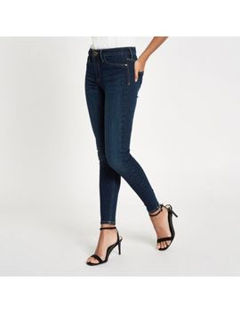 Dark Blue Mid Rise Molly Jeggings by River Island
