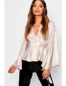 Floral Jacquard Satin Wrap Tie Blouse by Boohoo