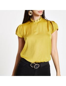 Yellow Frill Neck Shell Top by River Island