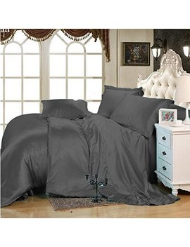 Selection Bedding Ultra Soft Luxurious Satin 3 Peice Duvet Cover Set Super Silky Vibrant Colors Elephant Grey, King/Cal King by Selection Bedding