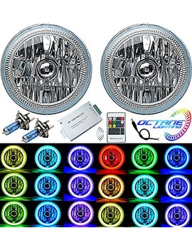 "Octane Lighting 7"" Rgb Smd Multi Color White Red Blue Green Led Halo Angel Eye Headlights Pair by Octane Lighting"