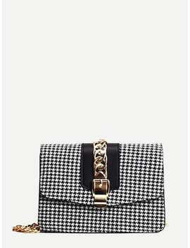Houndstooth Flap Chain Bag by Sheinside