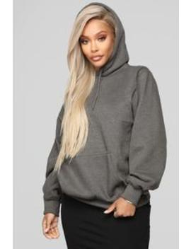 Stole Your Boyfriend's Oversized Hoodie   Charcoal by Fashion Nova