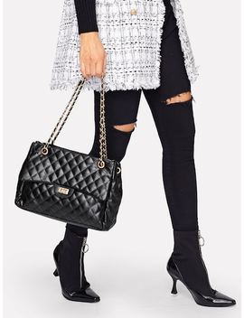 Quilted Satchel Bag With Chain by Sheinside