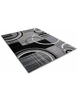 """Golden Rugs Platinium Collection 500,000 Thread Count Soft Black Grey Hand Carved – Modern Contemporary (5'2"""" X 7'5"""") Floor Rug With Premium Fluffy Texture For Indoor Living / Dining Room by Golden Rugs"""