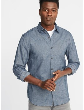 Slim Fit Textured Pattern Shirt For Men by Old Navy