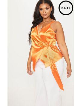Plus Orange Wrap Top by Prettylittlething