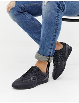 Boss Maze All Over Logo Trainers In Black by Boss