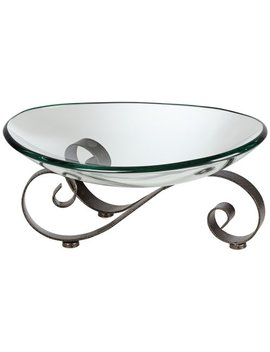 Kensington Hill Iron Scroll Stand With Oval Glass Bowl by Kensington Hill