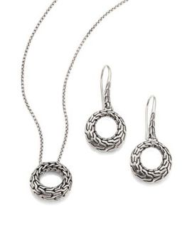 Classic Chain Sterling Silver Small Round Pendant Necklace & Drop Earrings Gift Box Set by John Hardy