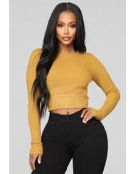 Back Cut Out Ribbed Top   Mustard by Fashion Nova