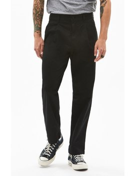 Pac Sun Pleated Black Slim Taper Chino Pants by Pacsun