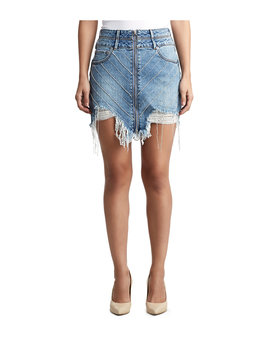 Womens Crystal Embellished Denim Skirt by True Religion
