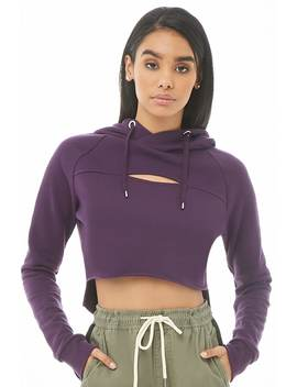 Hooded Fleece Cutout High Low Pullover by Forever 21