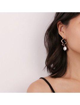 Pearl Hoop Earrings, Delicate Gold Hoop, Wavy Hoop Earrings, Pearl Drop Earrings, Pearl Drops, Large Hoops, Modern Earrings, Minimalist by Etsy