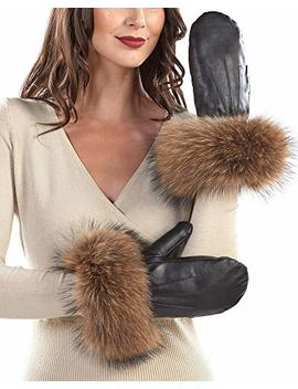 Black Authentic Leather Mittens With Tan Finn Raccoon Cuffs by Frr