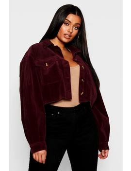 Plus Crop Horn Button Cord Jacket by Boohoo