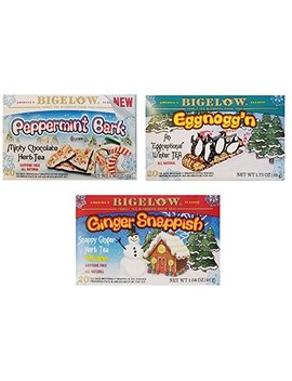 Bigelow Holiday Flavors Tea Bundle   3 Items: 1 Box Each: Eggnogg'n, Ginger Snappish, And Peppermint Bark Flavors by Bigelow Tea