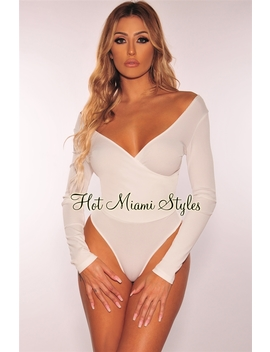 White Faux Wrap Ribbed Knit Long Sleeves Bodysuit by Hot Miami Style