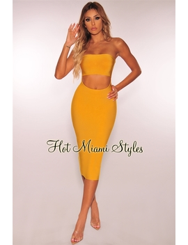Mustard Bandage Strapless Cut Out Midi Dress by Hot Miami Style