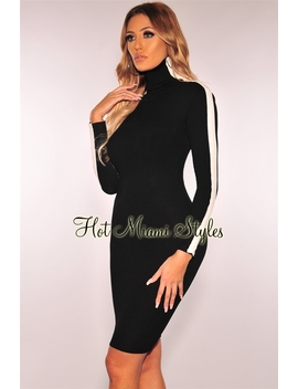 Black Ribbed Knit White Striped Turtleneck Sweater Dress by Hot Miami Style