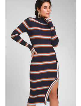 Style Season Navy Blue Multi Striped Midi Sweater Dress by Lulu's