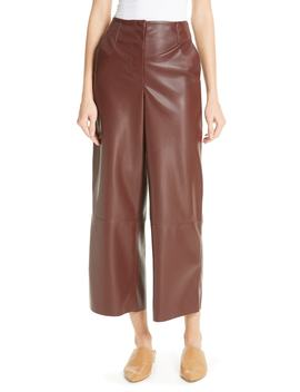 Africa Faux Leather Wide Leg Crop Pants by Nanushka
