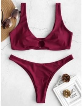 Zaful Ring Embellished Low Rise Bikini Set   Red Wine M by Zaful