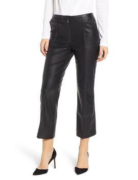 Pintuck Flare Faux Leather Trousers by David Lerner