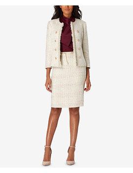 Bouclé Jacket & Belted Skirt by Tahari Asl