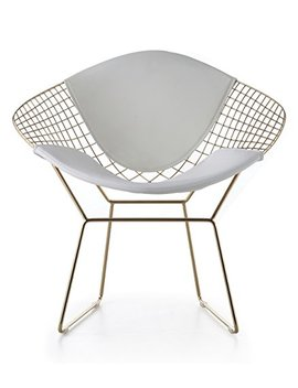 Wire Mesh Bertoia Style Diamond Chair In Gold Finish   White Pads by Ap