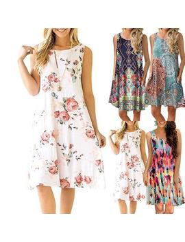 Women Summer Boho Short Mini Dress Floral Printed Pocket Beachwear Sundress Au by Unbranded