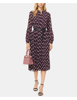 Printed Belted Pleated Dress by Michael Michael Kors