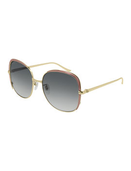 Square Metal Contrast Front Sunglasses by Gucci