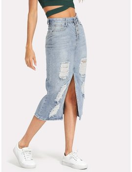 Split Front Ripped Denim Skirt by Sheinside