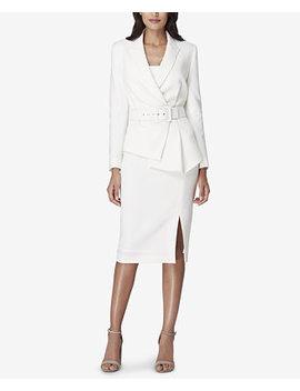 Petite Belted Asymmetric Skirt Suit by Tahari Asl