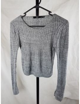 Sportsgirl Size Xs Grey Knit Ribbed Top Crop Long Sleeved by Sportsgirl
