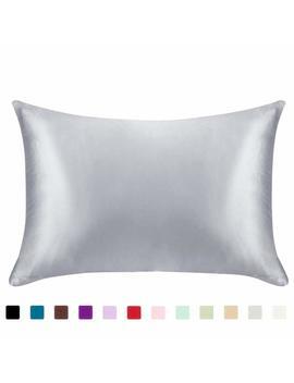 Juwenin,Luxury Satin Pillowcase With Zipper (Silky Satin Pillow Case For Hair) Set Of 2 (Queen, Silver) by Juwenin