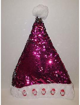 Merry Christmas Santa Clause Sequins Light Up Party Hat (Pink) by Pinto Novelty