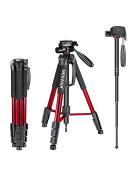 Neewer Portable 70 Inches/177 Centimeters Aluminum Alloy Camera Tripod Monopod With 3 Way Swivel Pan Head,Bag For Dslr Camera,Dv Video Camcorder,Load Up To 8.8 Pounds/4 Kilograms Red(Sab264) by Neewer