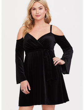 Black Cold Shoulder Velvet Dress by Torrid