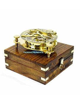Thorinstruments (With Device) Beautiful Nautical Sundial Compass With Level Meter Encased In Genuine Rosewood Anchor Inlaid Case Maritime Decor by Thorinstruments (With Device)