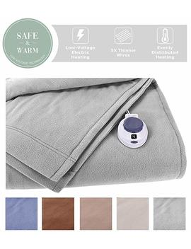 Soft Heat By Perfect Fit | Luxury Fleece Electric Heated Blanket With Safe & Warm Low Voltage Technology (Twin, Gray) by Soft Heat