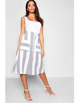Tonal Stripe Button Midi Sirt by Boohoo