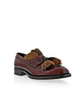 Prada Burgundy Fur Tassel Loafer by Prada
